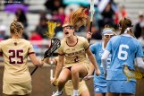 April 28, 2019 , Chestnut Hill, MA: Sam Apuzzo #2 of Boston College reacts after scoring a goal during the first half of the 2019 Women's Lacrosse ACC Championship game against the University of North Carolina at Alumni Stadium in Chestnut Hill, Massachusetts Sunday, April 28, 2019. (Photo by Billie Weiss/Boston College)