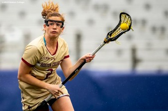 April 28, 2019 , Chestnut Hill, MA: Sam Apuzzo #2 of Boston College handles the ball during the first half of the 2019 Women's Lacrosse ACC Championship game against the University of North Carolina at Alumni Stadium in Chestnut Hill, Massachusetts Sunday, April 28, 2019. (Photo by Billie Weiss/Boston College)