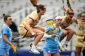 April 28, 2019 , Chestnut Hill, MA: Sam Apuzzo #2 of Boston College reacts after scoring a goal during the second half of the 2019 Women's Lacrosse ACC Championship game against the University of North Carolina at Alumni Stadium in Chestnut Hill, Massachusetts Sunday, April 28, 2019. (Photo by Billie Weiss/Boston College)