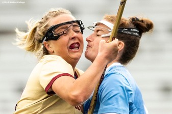 April 28, 2019 , Chestnut Hill, MA: Jordan Lappin #27 of Boston College handles the ball during the second half of the 2019 Women's Lacrosse ACC Championship game against the University of North Carolina at Alumni Stadium in Chestnut Hill, Massachusetts Sunday, April 28, 2019. (Photo by Billie Weiss/Boston College)