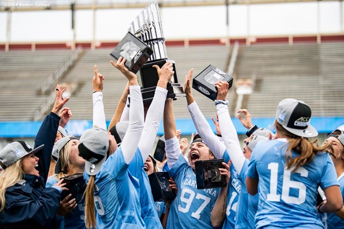 April 28, 2019 , Chestnut Hill, MA: Members of University of North Carolina are presented with the trophy after a victory in the 2019 Women's Lacrosse ACC Championship game against Boston College at Alumni Stadium in Chestnut Hill, Massachusetts Sunday, April 28, 2019. (Photo by Billie Weiss/Boston College)