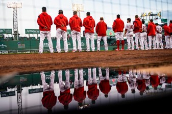 BOSTON, MA - APRIL 29: Members of the Boston Red Sox line up before a game against the Oakland Athletics on April 29, 2019 at Fenway Park in Boston, Massachusetts. (Photo by Billie Weiss/Boston Red Sox/Getty Images) *** Local Caption ***