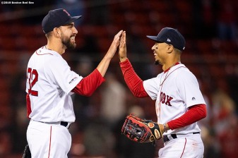 BOSTON, MA - APRIL 29: Matt Barnes #32 and Mookie Betts #50 of the Boston Red Sox celebrate a victory against the Oakland Athletics on April 29, 2019 at Fenway Park in Boston, Massachusetts. (Photo by Billie Weiss/Boston Red Sox/Getty Images) *** Local Caption *** Matt Barnes; Mookie Betts