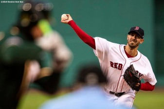 BOSTON, MA - APRIL 30: Rick Porcello #22 of the Boston Red Sox delivers during the first inning of a game against the Oakland Athletics on April 30, 2019 at Fenway Park in Boston, Massachusetts. (Photo by Billie Weiss/Boston Red Sox/Getty Images) *** Local Caption *** Rick Porcello