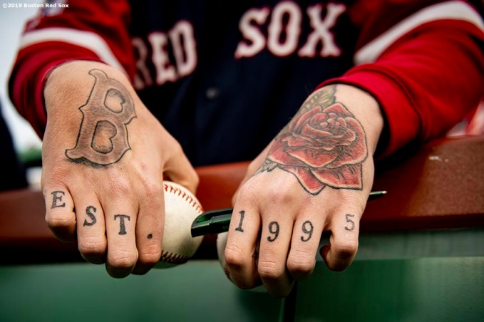BOSTON, MA - APRIL 30: A fan of the Boston Red Sox displays his tattoos before a game against the Oakland Athletics on April 30, 2019 at Fenway Park in Boston, Massachusetts. (Photo by Billie Weiss/Boston Red Sox/Getty Images) *** Local Caption ***
