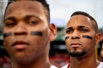 BOSTON, MA - APRIL 30: Rafael Devers #11 and Xander Bogaerts #2 of the Boston Red Sox looks on before a game against the Oakland Athletics on April 30, 2019 at Fenway Park in Boston, Massachusetts. (Photo by Billie Weiss/Boston Red Sox/Getty Images) *** Local Caption *** Xander Bogaerts; Rafael Devers