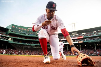 BOSTON, MA - APRIL 30: Xander Bogaerts #2 of the Boston Red Sox reacts before a game against the Oakland Athletics on April 30, 2019 at Fenway Park in Boston, Massachusetts. (Photo by Billie Weiss/Boston Red Sox/Getty Images) *** Local Caption *** Xander Bogaerts