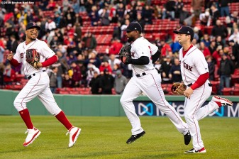 BOSTON, MA - APRIL 30: Mookie Betts #50, Jackie Bradley Jr. #19 and Andrew Benintendi #16 of the Boston Red Sox run onto the field before a game against the Oakland Athletics on April 30, 2019 at Fenway Park in Boston, Massachusetts. (Photo by Billie Weiss/Boston Red Sox/Getty Images) *** Local Caption *** Mookie Betts; Jackie Bradley Jr.; Andrew Benintendi