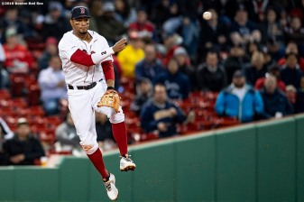 BOSTON, MA - APRIL 30: Xander Bogaerts #2 of the Boston Red Sox throws to second base during the third inning of a game against the Oakland Athletics on April 30, 2019 at Fenway Park in Boston, Massachusetts. (Photo by Billie Weiss/Boston Red Sox/Getty Images) *** Local Caption *** Xander Bogaerts