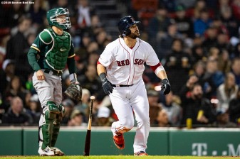 BOSTON, MA - APRIL 30: Mitch Moreland #18 of the Boston Red Sox hits a two run home run during the fourth inning of a game against the Oakland Athletics on April 30, 2019 at Fenway Park in Boston, Massachusetts. (Photo by Billie Weiss/Boston Red Sox/Getty Images) *** Local Caption *** Mitch Moreland