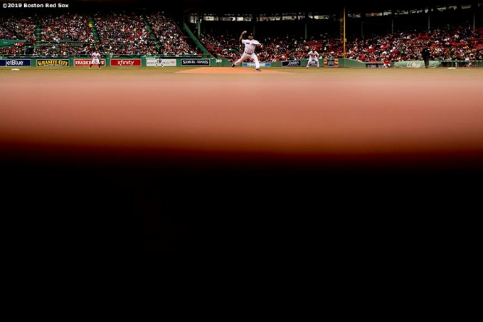 BOSTON, MA - MAY 1: Hector Velazquez #75 of the Boston Red Sox delivers during the first inning of a game against the Oakland Athletics on May 1, 2019 at Fenway Park in Boston, Massachusetts. (Photo by Billie Weiss/Boston Red Sox/Getty Images) *** Local Caption *** Hector Velazquez