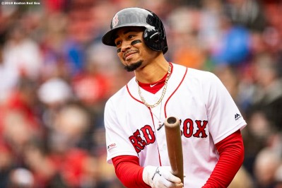 BOSTON, MA - MAY 1: Mookie Betts #50 of the Boston Red Sox reacts during the first inning of a game against the Oakland Athletics on May 1, 2019 at Fenway Park in Boston, Massachusetts. (Photo by Billie Weiss/Boston Red Sox/Getty Images) *** Local Caption *** Mookie Betts