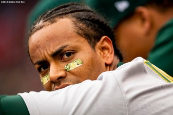 BOSTON, MA - MAY 1: Khris Davis #2 of the Oakland Athletics looks on during the ninth inning of a game against the Boston Red Sox on May 1, 2019 at Fenway Park in Boston, Massachusetts. (Photo by Billie Weiss/Boston Red Sox/Getty Images) *** Local Caption *** Khris Davis