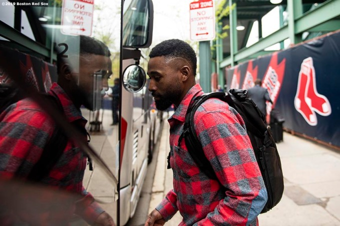 BOSTON, MA - MAY 1: Jackie Bradley Jr. #19 of the Boston Red Sox oards the bus after a game against the Oakland Athletics on May 1, 2019 at Fenway Park in Boston, Massachusetts. (Photo by Billie Weiss/Boston Red Sox/Getty Images) *** Local Caption *** Jackie Bradley Jr.