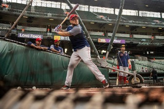 BALTIMORE, MD - MAY 7: Michael Chavis #23 of the Boston Red Sox takes batting practice before a game against the Baltimore Orioles on May 7, 2019 at Oriole Park at Camden Yards in Baltimore, Maryland. (Photo by Billie Weiss/Boston Red Sox/Getty Images) *** Local Caption *** Michael Chavis