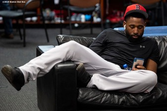 BALTIMORE, MD - MAY 7: Jackie Bradley Jr. #19 of the Boston Red Sox sits on the couch before a game against the Baltimore Orioles on May 7, 2019 at Oriole Park at Camden Yards in Baltimore, Maryland. (Photo by Billie Weiss/Boston Red Sox/Getty Images) *** Local Caption *** Jackie Bradley Jr.