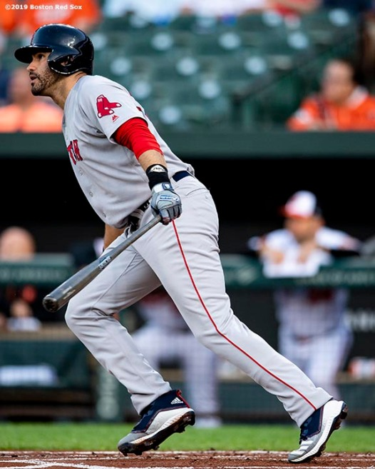 BALTIMORE, MD - MAY 7: J.D. Martinez #28 of the Boston Red Sox hits a two run home run during the first inning of a game against the Baltimore Orioles on May 7, 2019 at Oriole Park at Camden Yards in Baltimore, Maryland. (Photo by Billie Weiss/Boston Red Sox/Getty Images) *** Local Caption *** J.D. Martinez