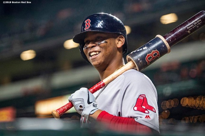 BALTIMORE, MD - MAY 7: Rafael Devers #11 of the Boston Red Sox reacts during the fifth inning of a game against the Baltimore Orioles on May 7, 2019 at Oriole Park at Camden Yards in Baltimore, Maryland. (Photo by Billie Weiss/Boston Red Sox/Getty Images) *** Local Caption *** Rafael Devers