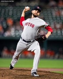 BALTIMORE, MD - MAY 7: Matt Barnes #32 of the Boston Red Sox delivers during the ninth inning of a game against the Baltimore Orioles on May 7, 2019 at Oriole Park at Camden Yards in Baltimore, Maryland. (Photo by Billie Weiss/Boston Red Sox/Getty Images) *** Local Caption *** Matt Barnes