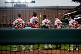 BALTIMORE, MD - MAY 8: Members of the Boston Red Sox line up before a game against the Baltimore Orioles on May 8, 2019 at Oriole Park at Camden Yards in Baltimore, Maryland. (Photo by Billie Weiss/Boston Red Sox/Getty Images) *** Local Caption ***