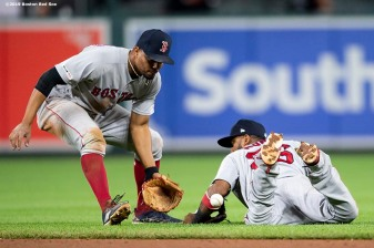 BALTIMORE, MD - MAY 8: Eduardo Nunez #36 of the Boston Red Sox stops a ball as Xander Bogaerts #2 covers during the ninth inning of a game against the Baltimore Orioles on May 8, 2019 at Oriole Park at Camden Yards in Baltimore, Maryland. (Photo by Billie Weiss/Boston Red Sox/Getty Images) *** Local Caption *** Eduardo Nunez; Xander Bogaerts