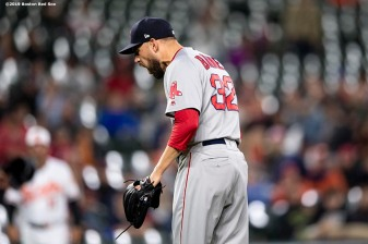 BALTIMORE, MD - MAY 8: Matt Barnes #32 of the Boston Red Sox reacts during the ninth inning of a game against the Baltimore Orioles on May 8, 2019 at Oriole Park at Camden Yards in Baltimore, Maryland. (Photo by Billie Weiss/Boston Red Sox/Getty Images) *** Local Caption *** Matt Barnes