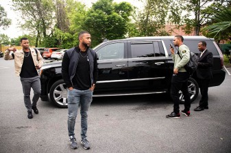 BALTIMORE, MD - MAY 8: Rafael Devers #11, Eduardo Nunez #36, and Xander Bogaerts #2 of the Boston Red Sox arrive during a visit to Nick's Fish House on May 8, 2019 in Baltimore, Maryland. (Photo by Billie Weiss/Boston Red Sox/Getty Images) *** Local Caption *** Rafael Devers; Eduardo Nunez; Xander Bogaerts
