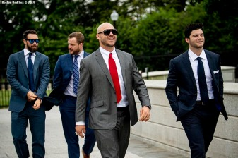 WASHINGTON, DC - MAY 9: Steve Pearce #25 and Andrew Benintendi of the Boston Red Sox arrive during a visit to the White House in recognition of the 2018 World Series championship on May 9, 2019 in Washington, DC. (Photo by Billie Weiss/Boston Red Sox/Getty Images) *** Local Caption *** Steve Pearce; Andrew Benintendi