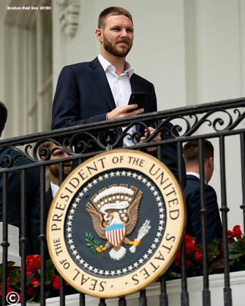 WASHINGTON, DC - MAY 9: Chris Sale #41 of the Boston Red Sox looks on during a visit to the White House in recognition of the 2018 World Series championship on May 9, 2019 in Washington, DC. (Photo by Billie Weiss/Boston Red Sox/Getty Images) *** Local Caption *** Chris Sale