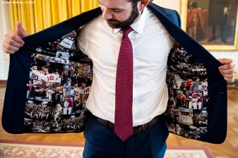 WASHINGTON, DC - MAY 9: Mitch Moreland #18 of the Boston Red Sox displays his jacket as he takes a tour during a visit to the White House in recognition of the 2018 World Series championship on May 9, 2019 in Washington, DC. (Photo by Billie Weiss/Boston Red Sox/Getty Images) *** Local Caption *** Mitch Moreland