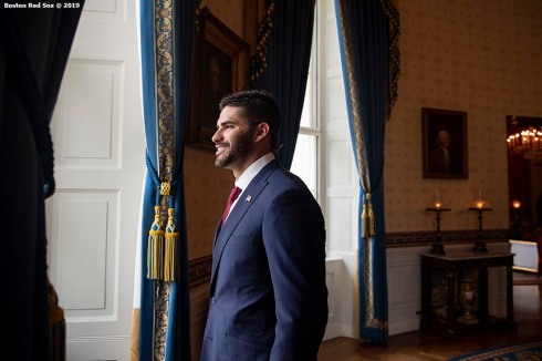 WASHINGTON, DC - MAY 9: J.D. Martinez #28 of the Boston Red Sox takes a tour during a visit to the White House in recognition of the 2018 World Series championship on May 9, 2019 in Washington, DC. (Photo by Billie Weiss/Boston Red Sox/Getty Images) *** Local Caption *** J.D. Martinez