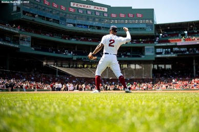 BOSTON, MA - MAY 11: Xander Bogaerts #2 of the Boston Red Sox warms up before a game against the Seattle Mariners on May 11, 2019 at Fenway Park in Boston, Massachusetts. (Photo by Billie Weiss/Boston Red Sox/Getty Images) *** Local Caption *** Xander Bogaerts