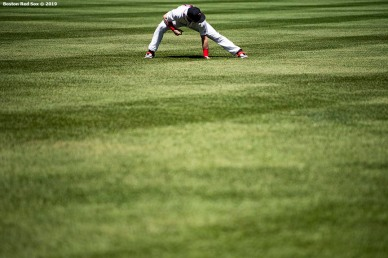 BOSTON, MA - MAY 11: Andrew Benintendi #16 of the Boston Red Sox warms up before a game against the Seattle Mariners on May 11, 2019 at Fenway Park in Boston, Massachusetts. (Photo by Billie Weiss/Boston Red Sox/Getty Images) *** Local Caption *** Andrew Benintendi