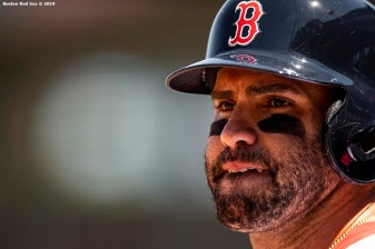 BOSTON, MA - MAY 11: J.D. Martinez #28 of the Boston Red Sox looks on during the first inning of a game against the Seattle Mariners on May 11, 2019 at Fenway Park in Boston, Massachusetts. (Photo by Billie Weiss/Boston Red Sox/Getty Images) *** Local Caption *** J.D. Martinez