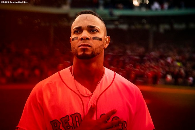 BOSTON, MA - MAY 14: Xander Bogaerts #2 of the Boston Red Sox looks on before a game against the Colorado Rockies on May 14, 2019 at Fenway Park in Boston, Massachusetts. (Photo by Billie Weiss/Boston Red Sox/Getty Images) *** Local Caption *** Xander Bogaerts
