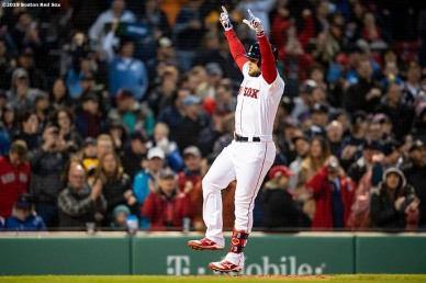 BOSTON, MA - MAY 14: Michael Chavis #23 of the Boston Red Sox reacts after hitting a solo home run during the second inning of a game against the Colorado Rockies on May 14, 2019 at Fenway Park in Boston, Massachusetts. (Photo by Billie Weiss/Boston Red Sox/Getty Images) *** Local Caption *** Michael Chavis