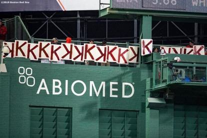 BOSTON, MA - MAY 14: Seventeen K signs are displayed in recognition of seventeen total strikeouts thrown by Chris Sale #41 of the Boston Red Sox during the seventh inning of a game against the Colorado Rockies on May 14, 2019 at Fenway Park in Boston, Massachusetts. (Photo by Billie Weiss/Boston Red Sox/Getty Images) *** Local Caption *** Chris Sale