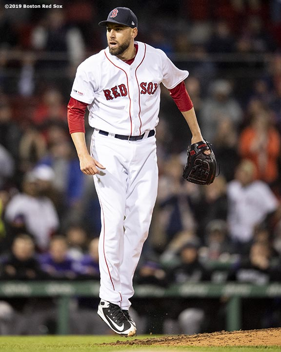 BOSTON, MA - MAY 14: Matt Barnes #32 of the Boston Red Sox reacts during the ninth inning of a game against the Colorado Rockies on May 14, 2019 at Fenway Park in Boston, Massachusetts. (Photo by Billie Weiss/Boston Red Sox/Getty Images) *** Local Caption *** Matt Barnes