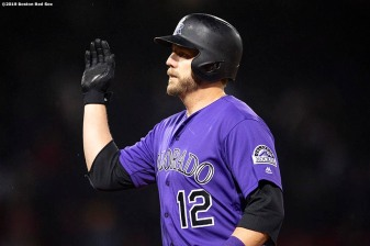 BOSTON, MA - MAY 14: Mark Reynolds #12 of the Colorado Rockies reacts after hitting a go ahead RBI single during the eleventh inning of a game against the Boston Red Sox on May 14, 2019 at Fenway Park in Boston, Massachusetts. (Photo by Billie Weiss/Boston Red Sox/Getty Images) *** Local Caption *** Mark Reynolds