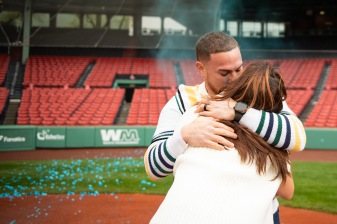 May 14, 2019 , Boston, MA: The gender reveal of Christian and Gaby Vazquez at Fenway Park in Boston, Massachusetts Tuesday, May 14, 2019. (Photo by Billie Weiss/Boston Red Sox)