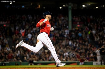BOSTON, MA - MAY 15: J.D. Martinez #28 of the Boston Red Sox reacts after hitting a two run home run during the third inning of a game against the Colorado Rockies on May 15, 2019 at Fenway Park in Boston, Massachusetts. (Photo by Billie Weiss/Boston Red Sox/Getty Images) *** Local Caption *** J.D. Martinez