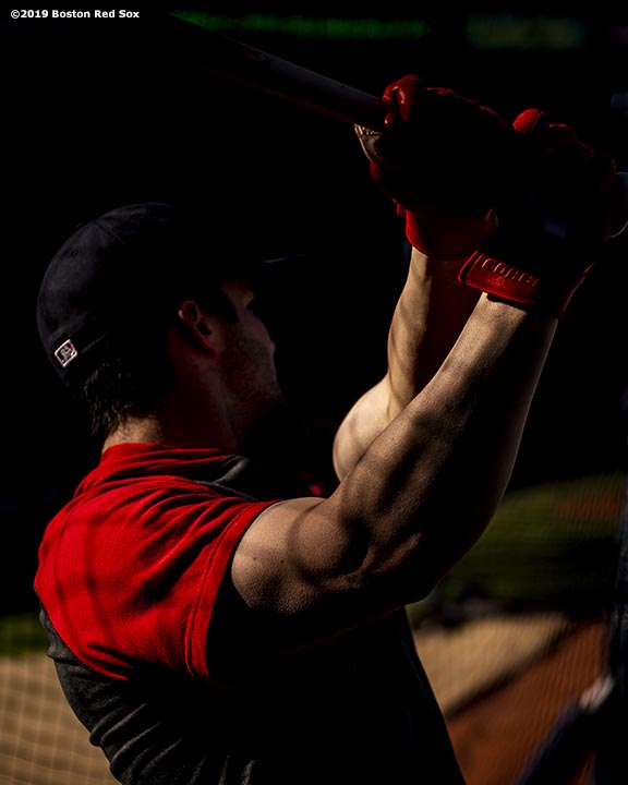 BOSTON, MA - MAY 18: Andrew Benintendi #16 of the Boston Red Sox takes batting practice before a game against the Houston Astros on May 18, 2019 at Fenway Park in Boston, Massachusetts. (Photo by Billie Weiss/Boston Red Sox/Getty Images) *** Local Caption *** Andrew Benintendi