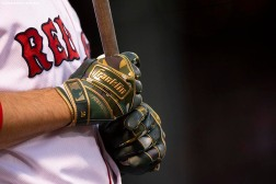 BOSTON, MA - MAY 18: The Franklin batting gloves of J.D. Martinez #28 of the Boston Red Sox are shown during the first inning of a game against the Houston Astros on May 18, 2019 at Fenway Park in Boston, Massachusetts. (Photo by Billie Weiss/Boston Red Sox/Getty Images) *** Local Caption *** J.D. Martinez