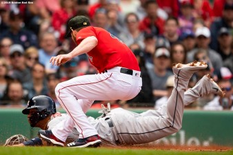 BOSTON, MA - MAY 19: Yuli Gurriel #10 of the Houston Astros slides as he scores on a passed ball as Chris Sale #41 of the Boston Red Sox applies a late tag during the second inning of a game on May 19, 2019 at Fenway Park in Boston, Massachusetts. (Photo by Billie Weiss/Boston Red Sox/Getty Images) *** Local Caption *** Yuli Gurriel; Chris Sale