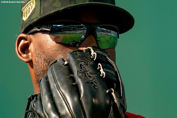 BOSTON, MA - MAY 19: Jackie Bradley Jr. #19 of the Boston Red Sox looks on during the seventh inning of a game against the Houston Astros on May 19, 2019 at Fenway Park in Boston, Massachusetts. (Photo by Billie Weiss/Boston Red Sox/Getty Images) *** Local Caption *** Jackie Bradley Jr.