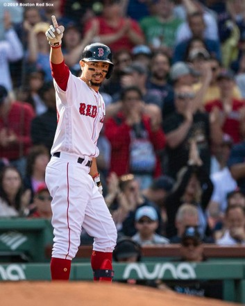 BOSTON, MA - MAY 27: Mookie Betts #50 of the Boston Red Sox reacts after hitting a triple during the third inning of a game against the Cleveland Indians on May 27, 2019 at Fenway Park in Boston, Massachusetts. (Photo by Billie Weiss/Boston Red Sox/Getty Images) *** Local Caption *** Mookie Betts