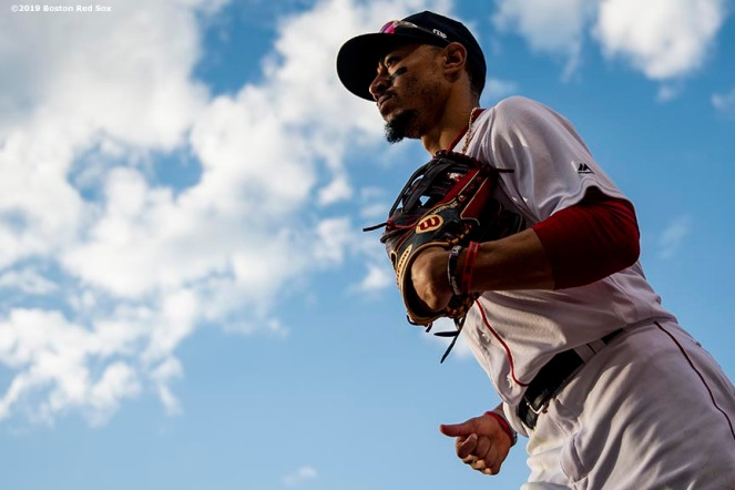BOSTON, MA - MAY 27: Mookie Betts #30 of the Boston Red Sox looks on as he runs during the sixth inning of a game against the Cleveland Indians on May 27, 2019 at Fenway Park in Boston, Massachusetts. (Photo by Billie Weiss/Boston Red Sox/Getty Images) *** Local Caption *** Mookie Betts