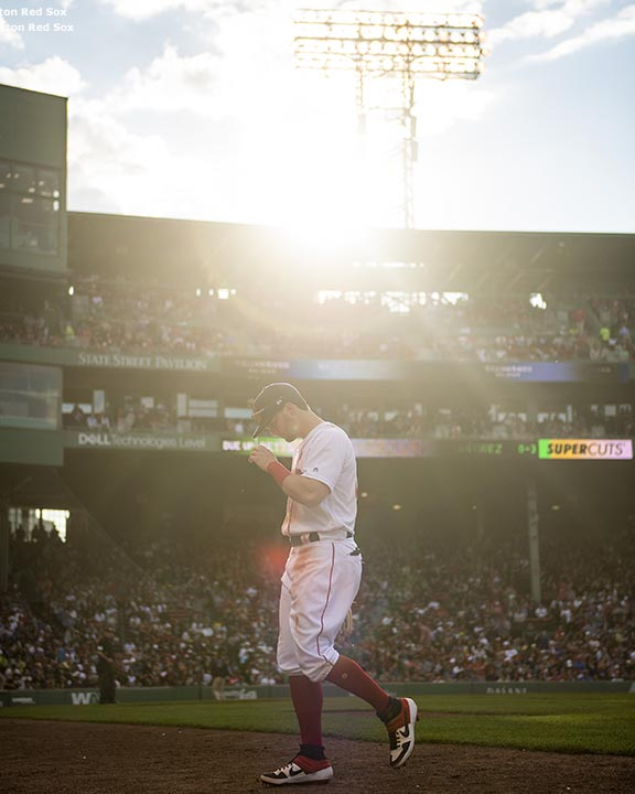 BOSTON, MA - MAY 27: Andrew Benintendi #16 of the Boston Red Sox walks toward the dugout during the sixth inning of a game against the Cleveland Indians on May 27, 2019 at Fenway Park in Boston, Massachusetts. (Photo by Billie Weiss/Boston Red Sox/Getty Images) *** Local Caption *** Andrew Benintendi