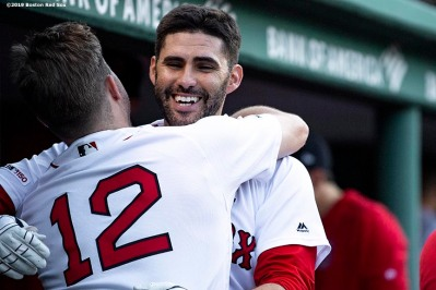 BOSTON, MA - MAY 27: J.D. Martinez #28 of the Boston Red Sox reacts with Brock Holt #12 after hitting a solo home run during the sixth inning of a game against the Cleveland Indians on May 27, 2019 at Fenway Park in Boston, Massachusetts. (Photo by Billie Weiss/Boston Red Sox/Getty Images) *** Local Caption *** J.D. Martinez; Brock Holt