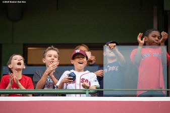 BOSTON, MA - MAY 27: Young fans cheer during a game between the Boston Red Sox and the Cleveland Indians on May 27, 2019 at Fenway Park in Boston, Massachusetts. (Photo by Billie Weiss/Boston Red Sox/Getty Images) *** Local Caption ***